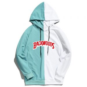 white and blue backwood hoodies